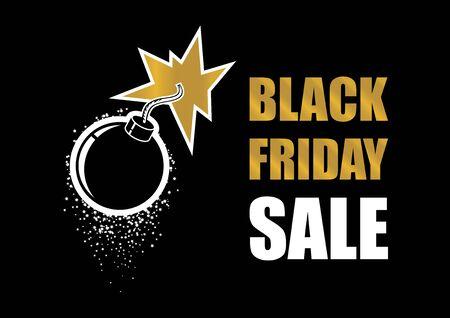 Black Friday Sale Vector illustration. Black Friday explosion vector. Bomb explosion icon. Golden bomb on a dark background. Label for Black Friday. Black Friday Wholesale Bomb Poster Иллюстрация