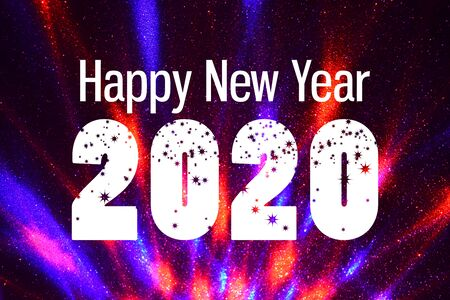 Happy New Year 2020 Inscription on white background. Happy New Year 2020 Sign. Purple New Year greeting card Фото со стока - 134170450