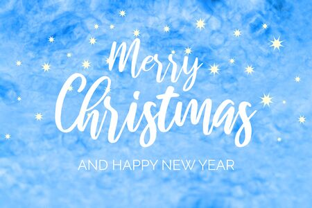Merry Christmas and Happy New Year Sign. Christmas greeting card. Blue starry Christmas background. Abstract winter background card