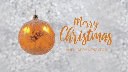 Merry Christmas and Happy New Year Sign. Golden vintage christmas ball. Simple Christmas decoration. Christmas greeting card Фото со стока - 134170513