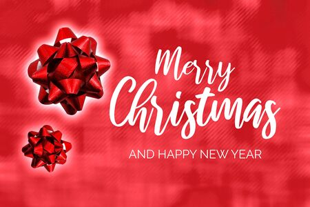 Merry Christmas and Happy New Year Christmas background with bow stock photography Elegant holiday background. Christmas greeting card Фото со стока - 134170515