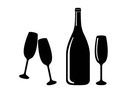 Vector Illustration Keywords: Bottle of champagne icon. Champagne glass icon. Wine bottle and glass isolated on white background. Toasting with two glasses. Drink icon set Фото со стока - 134170523