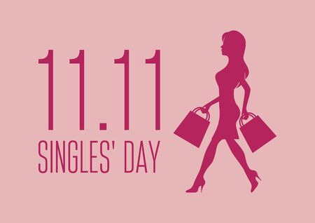 Vector Illustration Keywords: Vector Illustration Keywords: Vector Illustration Keywords: Shopping woman icon. Singles Day Poster, November 11. Shopping holiday icon. Important day Фото со стока - 134170527