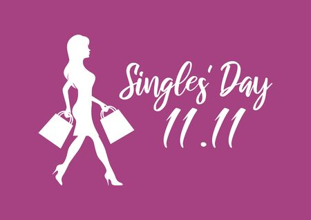 Vector Illustration Keywords: Vector Illustration Keywords: Vector Illustration Keywords: Shopping woman icon. Singles Day Poster, November 11. Shopping holiday icon. Important day Фото со стока - 134170525