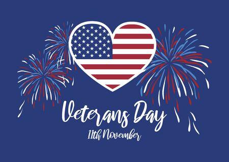 Vector Illustration Keywords: Honor Veterans of War. American flag heart. American Flag to Veterans Day. Veterans Day Poster, November 11. Important day Иллюстрация