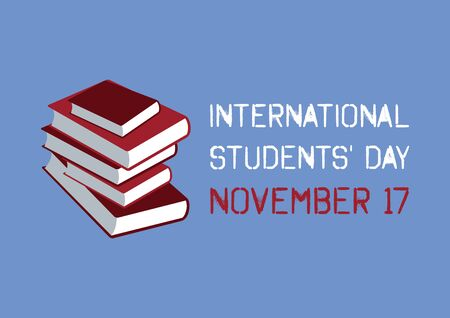 Vector Illustration Keywords: The commemorates of the 1939 Stack of books. Students Day Poster, November 17 Иллюстрация