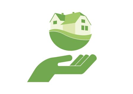Mortgage Business Green Icon Vector. Hand with house icon. Vector Illustration Keywords: Vector Illustration Keywords: Vector Illustration Keywords: