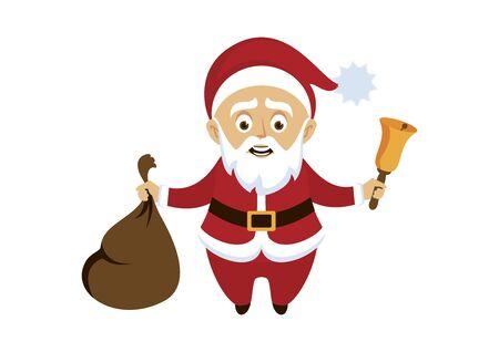 Santa Claus icon vector illustration. Santa Claus cartoon character. Santa icon isolated on white background. Santa holding gift sack and bell vector Фото со стока - 134170560