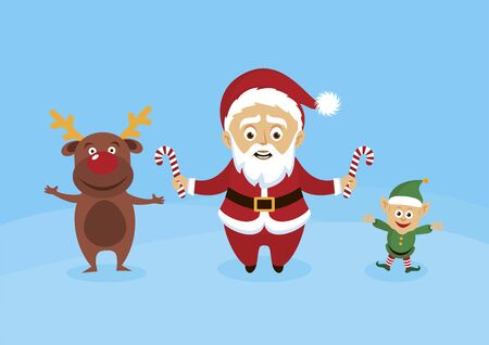 Santa Claus with reindeer and elf vector. Santa with helpers vector. Smiling Santa Claus with candy cane cartoon character. Cute Santa in winter landscape. Santa holding candy cane stick illustration