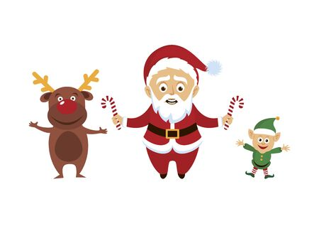 Santa Claus with reindeer icon. Santa with helpers vector. Smiling Santa Claus with candy cane cartoon character. Cute Santa holding candy cane stick. Santa with friends icon set