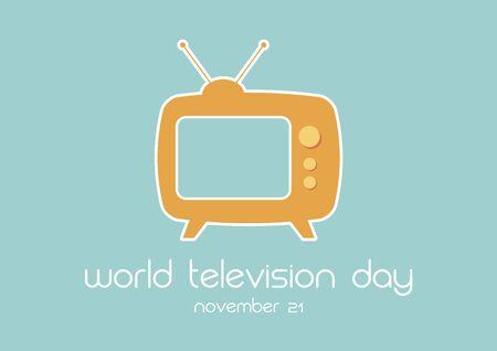 Vector Illustration Keywords: Television simple icon. Retro TV icon. Yellow vintage Television. Television Day Poster, November 21 Фото со стока - 134170612