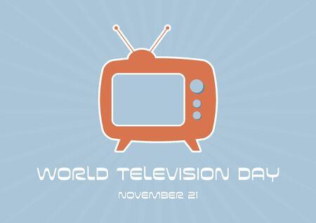 Vector Illustration Keywords: Television simple icon. Retro TV icon. Orange vintage Television. Television Day Poster, November 21