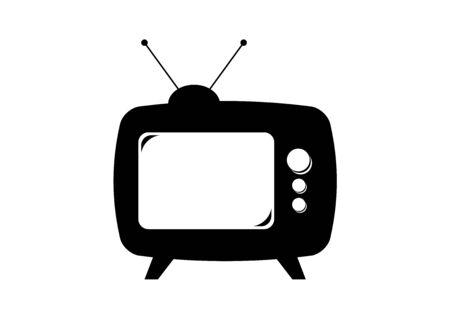 Retro TV black icon isolated on white background. Retro TV icon vector. Black vintage Television. Simple TV icon. Black old Television cartoon