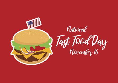 Vector Illustration Keywords: Burger cartoon. Hamburger icon vector. Vector Illustration Keywords: American Food and Beverage Holiday. Fast Food Day Poster Иллюстрация