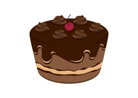 Chocolate cake with cherry vector. Vector Illustration Keywords: Chocolate cake icon isolated on white background. Creamy chocolate cake vector illustration