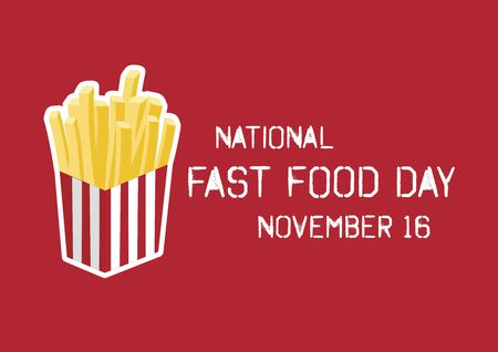 Vector Illustration Keywords: French fries icon vector. Vector Illustration Keywords: American Food and Beverage Holiday. Fast Food Day Poster, November 16 Иллюстрация