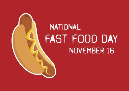 Vector Illustration Keywords: Hot dog with mustard icon. Vector Illustration Keywords: American Food and Beverage Holiday. Fast Food Day Poster, November 16 Фото со стока - 134170617