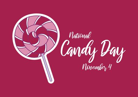 Vector Illustration Keywords: Pink spiral lollipop icon. Lollipop vector. Pink and white spiral lollipop. Strawberry round lollipop on pink background. Candy Day Poster Фото со стока - 134170619