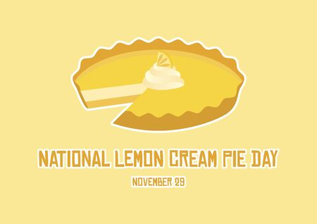 Cream Lemon Pie Day vector. Lemon Pie icon vector. Vector Illustration Keywords: Lemon Cream Pie Day Poster Фото со стока - 134213072