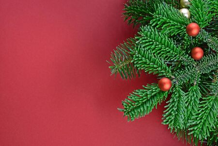 Christmas tree decoration stock photography Christmas tree branch. Beautiful Christmas background. Xmas decorations on red background. Christmas red frame stock images