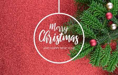 Merry Christmas and Happy New Year Sign. Christmas red background with ornate spruce branch stock images. Elegant holiday background. Christmas greeting card