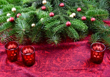Christmas red frame stock images. Christmas tree decoration stock photography Christmas tree branch. Beautiful Christmas background. Red Christmas candle stick