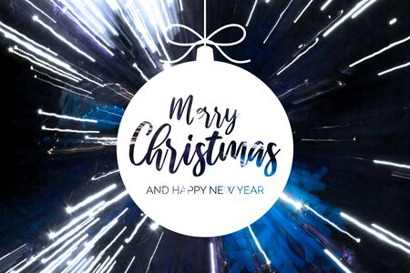 Merry Christmas and Happy New Year sign. Festive blue and white background. Christmas greeting card. White Christmas ball Фото со стока - 135128952
