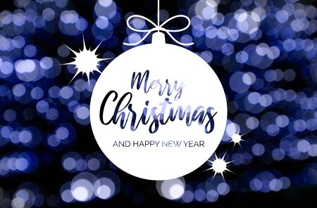 Merry Christmas and Happy New Year sign with blue and white blur effect. Blue blurred bokeh wallpaper. Festive blur backdrop. Christmas greeting card. Blue and white background
