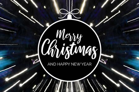 Merry Christmas and Happy New Year sign. Festive dark background. Christmas greeting card. Black Christmas ball