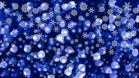 Abstract Christmas backround with snowflakes. Graphic white snowflakes. Christmas snowy background. Blue and white blur background. Glossy blue background