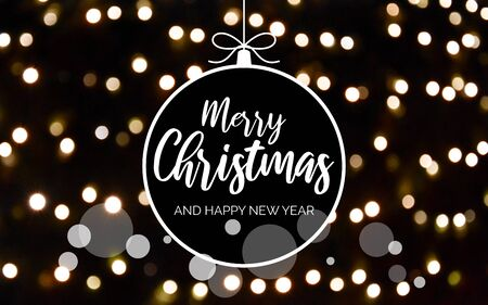 Merry Christmas and Happy New Year sign with blur effect. Dark blurred bokeh wallpaper. Festive blur backdrop. Christmas greeting card. Glossy Black and White Background Фото со стока