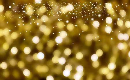 Starry golden christmas background. Festive golden background. Christmas ornament on a white background with copy space for text. Gold background with stars. Abstract gold bokeh background Фото со стока