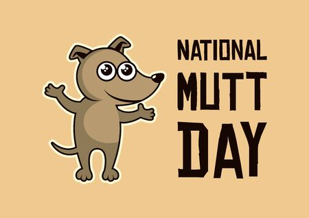 Vector Illustration Keywords: Vector Illustration Keywords: Cute puppy cartoon character. Brown dog icon. Mixed breed dog. Important day