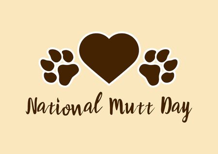 Vector Illustration Keywords: Dog paw print vector. Dog paw with heart icon. Mixed breed dog. Important day