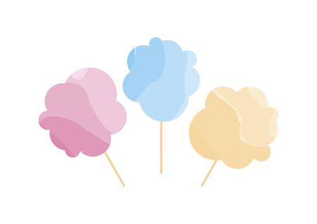 Cotton candy icon set vector. Multicolored cotton candy isolated on a white background. Vector Illustration Keywords: Cotton candy icon. Sugar cloud icon Иллюстрация