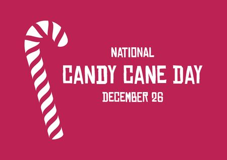 Vector Illustration Keywords: Graphic candy cane on red background. Xmas candy vector. Sweet Christmas symbol. American food holiday. Important day