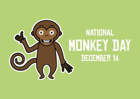 Vector Illustration Keywords: Monkey cartoon character. Cute monkey on green background. Vector Illustration Keywords: Monkey Day Poster, December 14th. Important day Фото со стока - 135161728