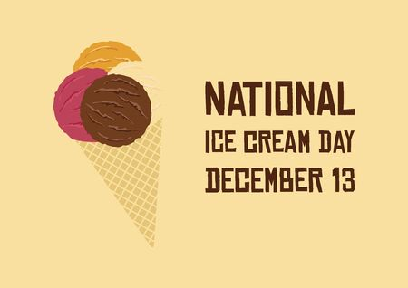 Ice Cream Day Vector. Ice cream cone vector illustration. Scoop Ice Cream Clipart. Different kinds of ice cream. American food holiday. Ice Cream Day Poster, December 13 Фото со стока - 135172637