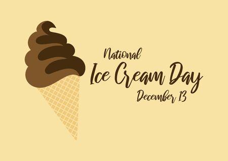 Ice Cream Day Vector. Vector Illustration Keywords: American food holiday. Ice Cream Day Poster, December 13 Vektorové ilustrace