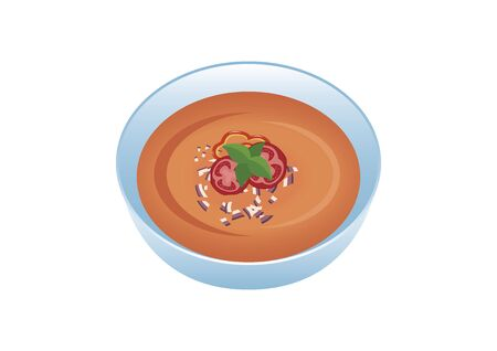 Gazpacho icon vector. Gazpacho soup isolated on a white background. Vector Illustration Keywords: Bowl of soup vector Фото со стока - 135177097