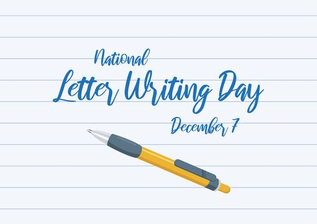 Vector Illustration Keywords: Vector Illustration Keywords: Yellow ballpoint icon. Handwritten letter poster, december 7. Important day Фото со стока - 135187911