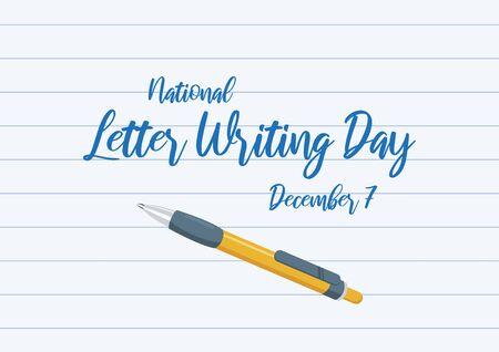 Vector Illustration Keywords: Vector Illustration Keywords: Yellow ballpoint icon. Handwritten letter poster, december 7. Important day Иллюстрация