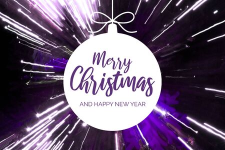 Merry Christmas and Happy New Year sign. Festive purple and white background. Christmas greeting card. White Christmas ball on shining violet background
