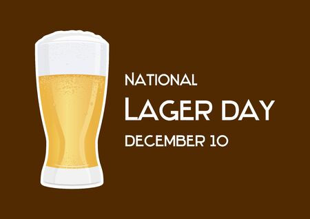 Vector Illustration Keywords: Vector Illustration Keywords: Fresh lager icon. Vector Illustration Keywords: Glass of beer isolated on brown background. Lager Day Poster, December 10