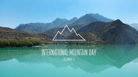 International Mountain Day images. Beautiful mountainous landscape. Mountains with lake. Mountain Day Poster, December 11th. Important day Фото со стока - 135339110