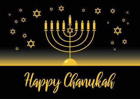 Happy Hanukkah golden menorah vector. Golden candelabrum on black background. Happy Hanukkah greeting card. Jewish holiday Chanukah. Falling Jewish stars. Important day