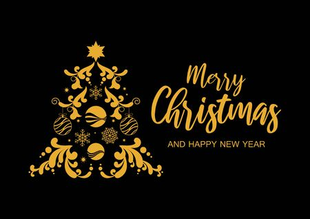 Merry Christmas and Happy New Year sign. Abstract golden christmas tree on black background vector. Gold graphic Christmas tree. Christmas greeting card