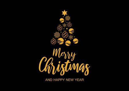 Abstract golden christmas tree on black background vector. Gold graphic Christmas tree. Merry Christmas and Happy New Year. Christmas greeting card. Merry Christmas inscription Иллюстрация