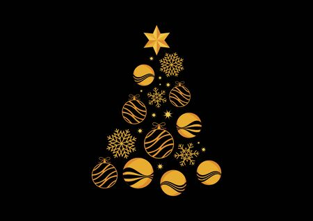 Abstract golden christmas tree on black background vector. Golden Christmas tree on black background. Vector Illustration Keywords: