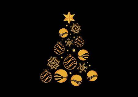 Abstrakter goldener Weihnachtsbaum auf schwarzem Hintergrundvektor. Goldener Weihnachtsbaum auf schwarzem Hintergrund. Schlüsselwörter für die Vektorillustration: